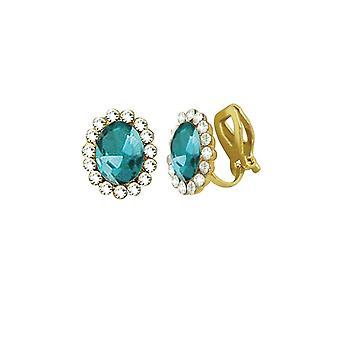 Eternal Collection Majesty Aquamarine Crystal Gold Tone Stud Clip On Earrings