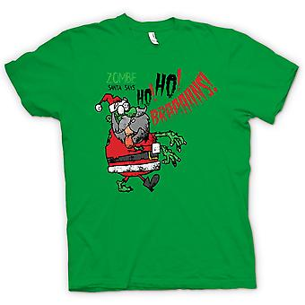 Mens T-shirt - Zombie Santa Says Ho Ho Brains - Funny