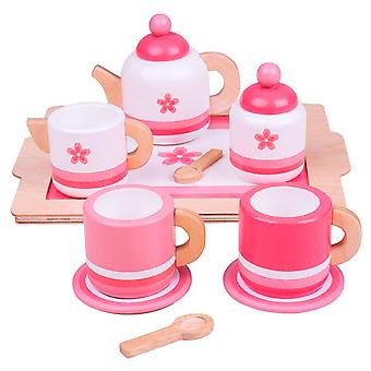 Holz Tee Service Rosa
