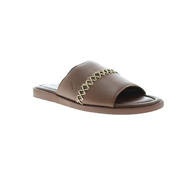 Tommy Bahama Adwin  Mens Brown Leather Slip On Slides Sandals Shoes
