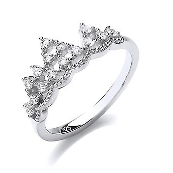 Jewelco London Ladies Rhodium Plated Silver white Round Brilliant cubic Zirconia Mountain King Crown Dress Ring