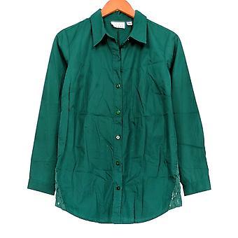 Joan elver klassikere samling kvinner ' s topp blonder trim skjorte grønn A295456