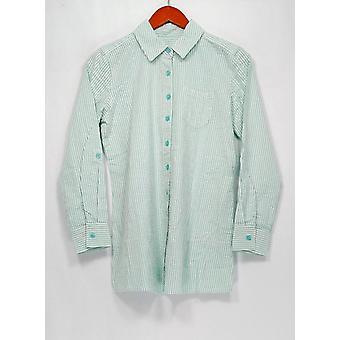 Denim & Co. Petite Top XXSP Seersucker Button vorne gestreift grün weiß A275872