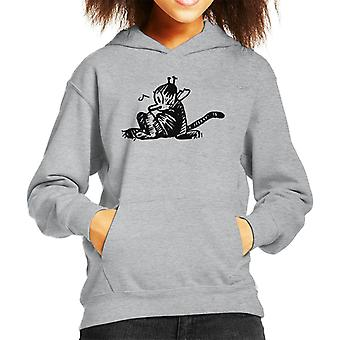 Krazy Kat Sitting Kid's Hooded Sweatshirt