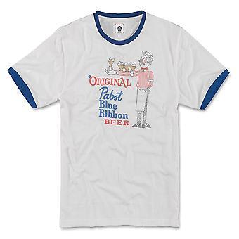 Pabst Blue Ribbon Beer Men's Grey Vintage Ringer T-Shirt