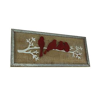 Red Birds On White Branch Rustic Wooden Wall Hanging