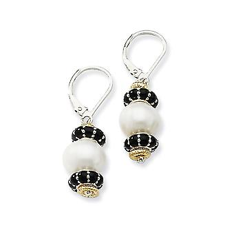 925 Sterling Silver Leverback With 14k 9.5mm Freshwater Cultured Cultured Pearl and Enameled Bead Earrings Jewelry Gifts