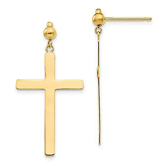 14k Ouro Amarelo Fé Religiosa Cruz Cruz Dangle Post Brincos Joias Presentes para Mulheres