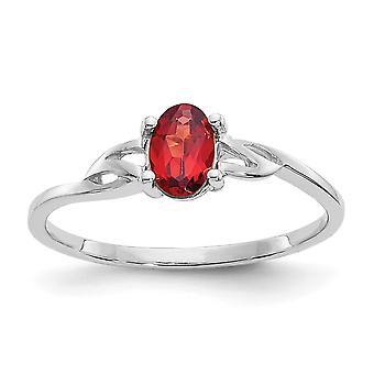 10k White Gold Oval Polished Garnet Ring Size 6 Jewelry Gifts for Women