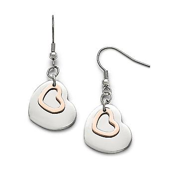 Stainless Steel Polished Rose Ip plated Love Hearts Shepherd Hook Earrings Jewelry Gifts for Women