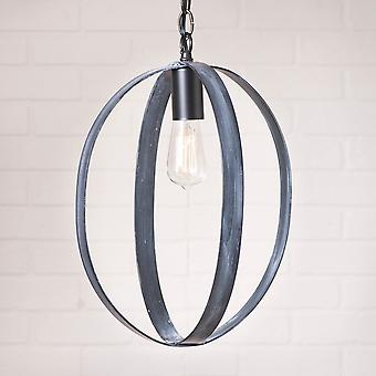 Irvin's Country Tinware 16-Inch Oval Sphere Pendant in Black