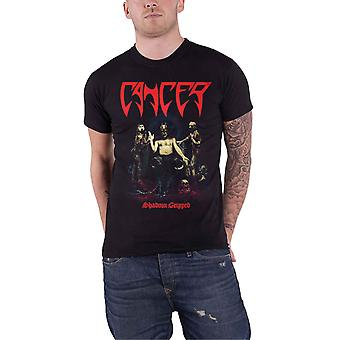 Cancer T Shirt Shadow Gripped Band Logo Death Metal new Official Mens Black