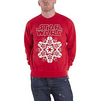 Star Wars Christmas Jumper Sweatshirt Darthvader Snowflake Official Mens New Red