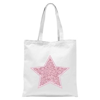 Floral Star Tote Bag - White