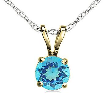 Dazzlingrock Collection 14K 7 mm Round Cut Blue Topaz Ladies Solitaire Pendant (Silver Chain Included), Yellow Gold