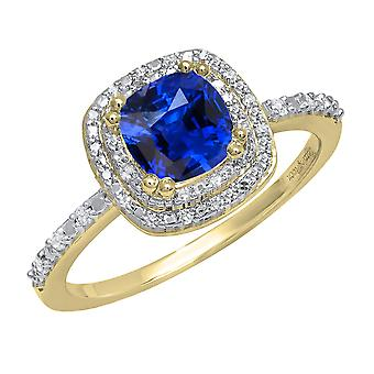Dazzlingrock Collection 10K 6 MM Cushion Lab Created Blue Sapphire & Round Diamond Engagement Ring, Yellow Gold