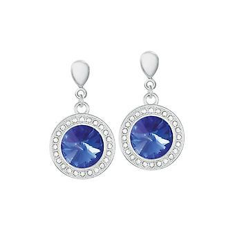 Eternal Collection Viva majesteettinen sininen kristalli Hopea sävy pudota ruuvi takaisin Clip korva korut