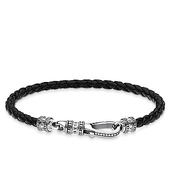 Thomas Sabo Sterling Silver Thomas Sabo Black Lobster Clasp Leather Strap Bracelet A1931-682-11