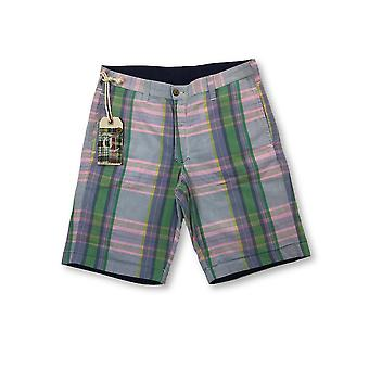 Tailor Vintage reversible shorts in pink/green madras/navy