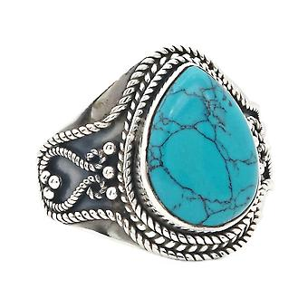 Ring Silver 925 Sterling Silver Turquoise Blue Green Stone (Nr: MRI 155)