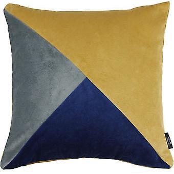Mcalister tekstiler diagonal patchwork fløjl Navy, gul + grå pude