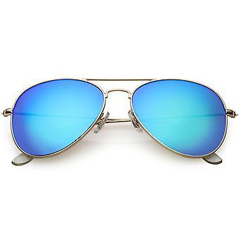 Klasyczne metalowe okulary przeciwsłoneczne dla kobiet kolorowe lustro obiektyw 57mm