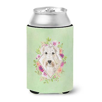 Carolines Treasures  CK4362CC Wheaten Terrier Green Flowers Can or Bottle Hugger