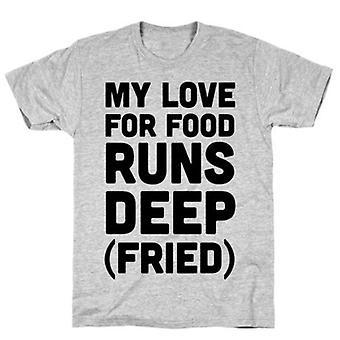 Mon amour pour la nourriture fonctionne fritt t-shirt gris