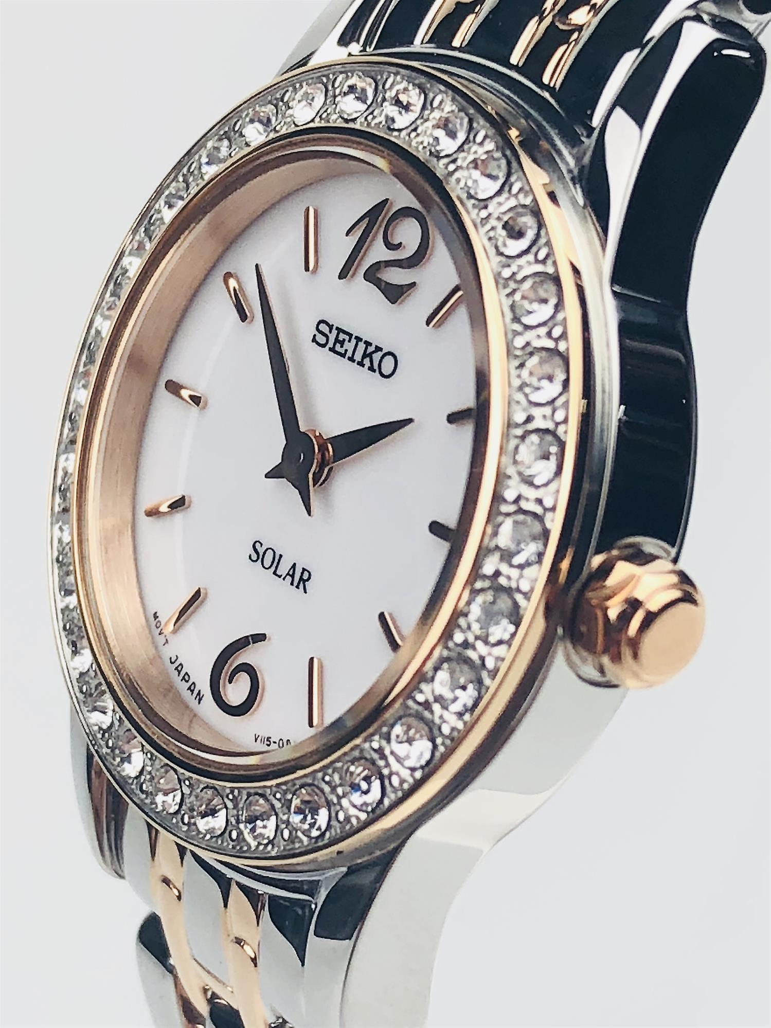Seiko Dress Solar Two Tone Steel Case and Bracelet Ladies Watch SUP130P9 RRP £249
