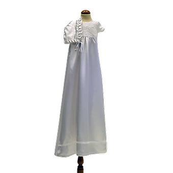 Abito di battezzamento bianco e bonnet, senza Rosett Grace Di Svezia Ma.v