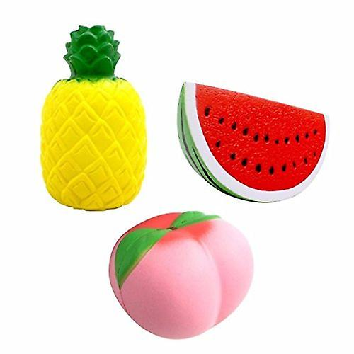 5x Fruit Squishy Pack - FRUIT SQUISHIES Watermelon Peach Strawberry Banana & Mango Kawaii Squishy Toys - Stress Balls