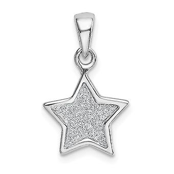 11mm 925 Sterling Silver Rhodium plated Glitter Enamel Fabric Star Pendant Necklace Jewelry Gifts for Women