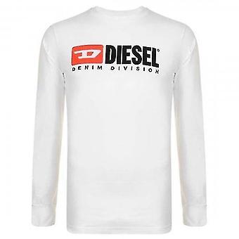 ديزل تي-فقط-شعبة شعار طويل الأكمام تي شيرت أبيض