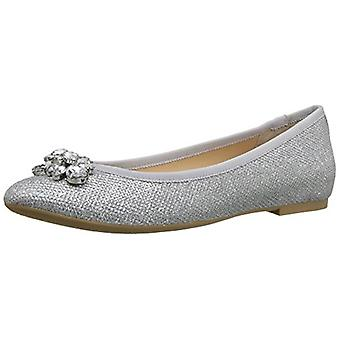 Jewel Badgley Mischka Women's Cabella Ballet Flat, Silver, 7.5 M US