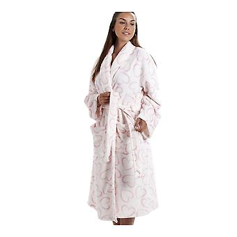 Camille White Supersoft Velour Fleece Pink Heart Print Shawl Collar Bathrobe