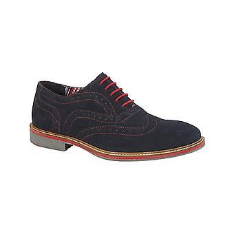 Roamers Navy Real Suede 5 Eye Oxford Brogue Shoe