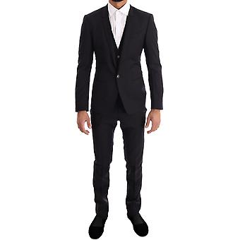 Dolce & Gabbana Purple Blue Striped 3 Piece Slim Suit