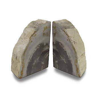 Indonesian Light Colored Petrified Wood Bookends 4-6 Pounds