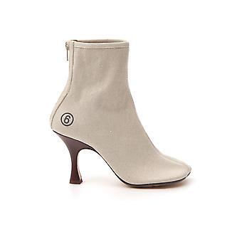 Mm6 Maison Margiela S59wu0101p2145t2042 Dames's Beige Leather Enkellaarzen