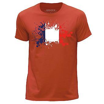 STUFF4 Men's Round Neck T-Shirt/France/French Flag/Orange