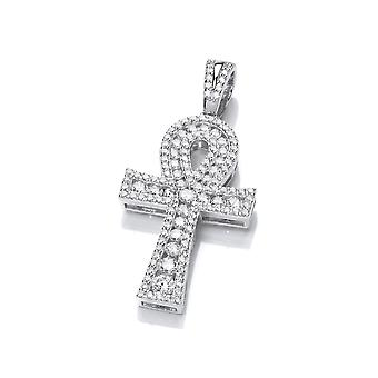 David Deyong Sterling Silver Studded Ankh Cross Pendant