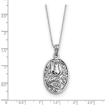 925 Sterling Silver Polerad Gåva Boxed Spring Ring Rodium pläterad finish Animal Friends Cat 18inch Halsband Smycken Gif