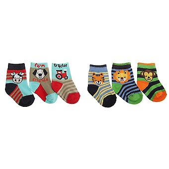 Baby Boys Animal Design Elasticated Socks (Pack Of 3)