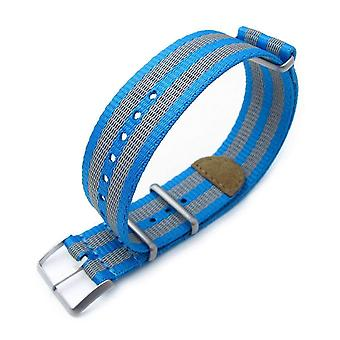 Strapcode n.a.t.o klockarmband miltat 22mm g10 nato 3m glow-in-the-dark klockrem, borstad - blå och grå ränder