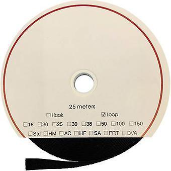 FASTECH® T020509999902225 Krok-och-ögla tejp stick-on (akryllim) Krokdyna (L x W) 25000 mm x 50 mm Svart 25 m
