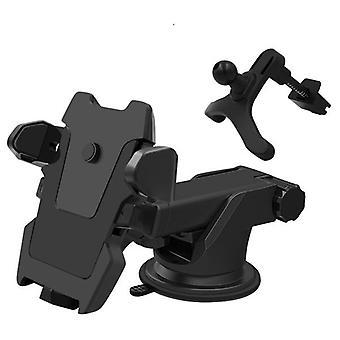 2 In 1 multifunctionele auto ventilatieopening voor glas instrument bureau zuiger telefoon houder voor telefoon 3-6,5 inch (zwart)