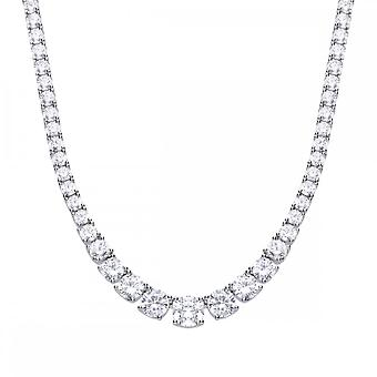 Diamonfire Silver & White Zirconia Graduated Tennis Necklace