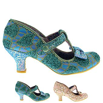 Womens Irregular Choice Lazy River Low Heel T-Bar Glitter Mary Janes