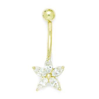 14k Yellow Gold CZ Cubic Zirconia Gesimuleerde Diamond 14 Gauge Bungelende Star Body Sieraden Buik Ring Maatregelen 26x10mm Jewe