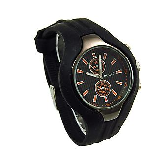 Henley Gents Black / Orange Chrono Effect Sports Watch